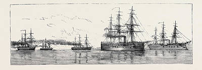 Crisis Drawing - The Crisis In Egypt The Anglo-french Squadron Proceeding by Egyptian School