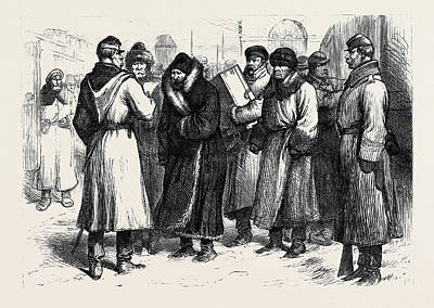 Crisis Drawing - The Crisis In Russia Prisoners At A Railway Station 1880 by English School