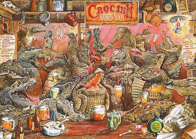 Rose. Collage Painting - The Croc Bar by Rose Rigden