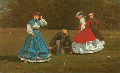 Club Scene Painting - The Croquet Game by Winslow Homer