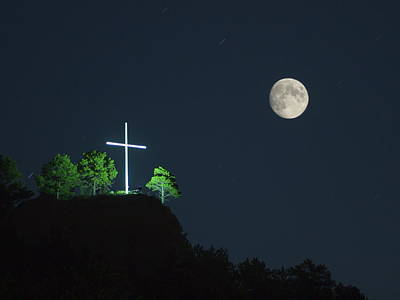 Photograph - The Cross And The Moon by HW Kateley