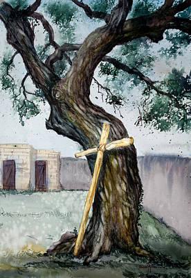 Da216 The Cross And The Tree By Daniel Adams Art Print