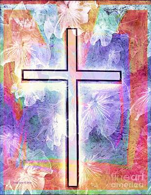 Digital Art - The Cross by Annie Zeno