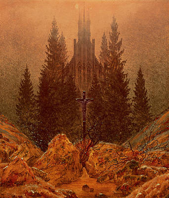 Crucifix Art Painting - The Cross In The Mountains by Caspar David Friedrich