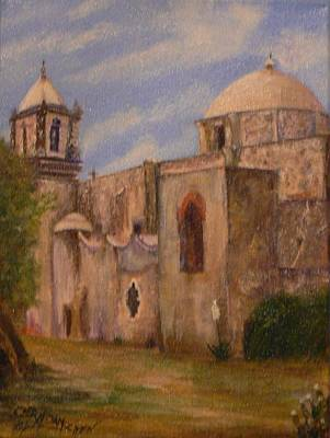 Painting - The Crosses High Above Mission San Jose' by Cheryl Damschen
