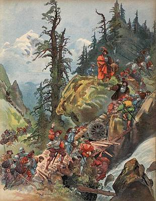 Alps Drawing - The Crossing Of The Alps, Illustration by Albert Robida
