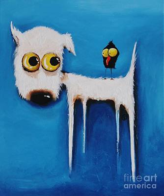 Stressie Cat Painting - The Crow And The Dog by Lucia Stewart