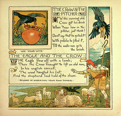 Crows Drawing - The Crow And The Pitcher The Eagle And The Crow by English School