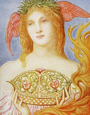 Fairies Drawing - The Crown Of Peace by Sir William Blake Richmond