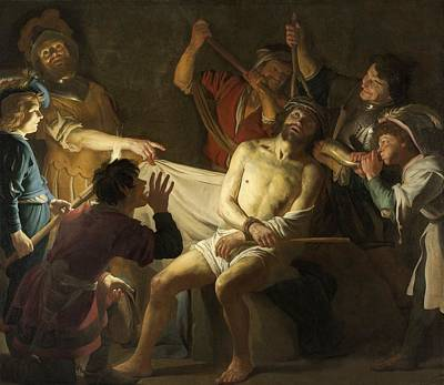 Netherlands Painting - The Crowning With Thorns Of Jesus by Gerard van Honthorst