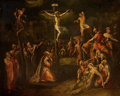 Thief Painting - The Crucifixion, 1550?-1700 by Flemish School