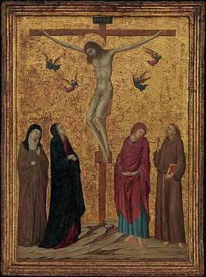 Siena Italy Painting - The Crucifixion by Attributed to Ugolino da Siena