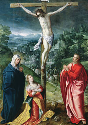 Christ On Cross Painting - The Crucifixion by Flemish School