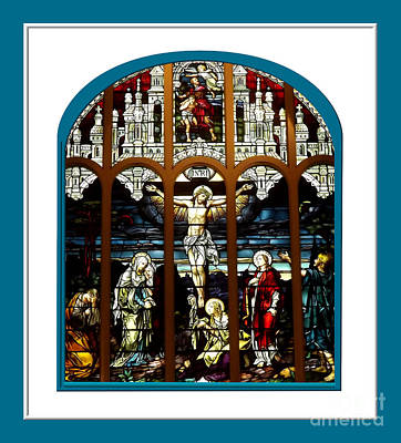 The Crucifixion Of Jesus On Good Friday Stained Glass Window Print by Rose Santuci-Sofranko