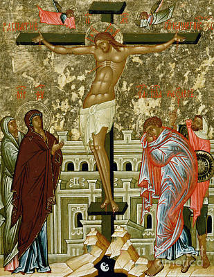 Russian Icon Painting - The Crucifixion Of Our Lord by Novgorod School