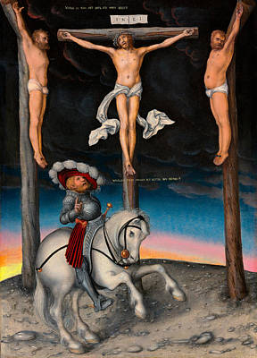 Painting - The Crucifixion With The Converted Centurion by Lucas Cranach the Elder