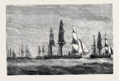 The Cruise Of The Pacific Squadron Art Print by English School