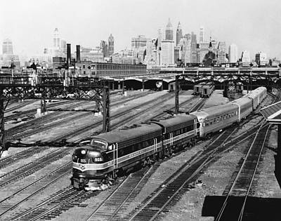 Train Tracks Photograph - The Crusader Streamliner Train by Underwood Archives