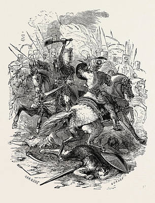 Foe Drawing - The Crusaders And Their Foes by English School