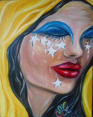 Painting - The Crying Flag - La Bandera Que Llora by Yesi Casanova