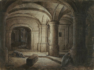 Wash Drawing - The Crypt Of A Church With Two Men Sleeping Hendrick Van by Litz Collection