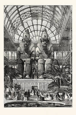 The Crystal Palace At Sydenham The Egyptian Avenue Colossal Art Print by Egyptian School