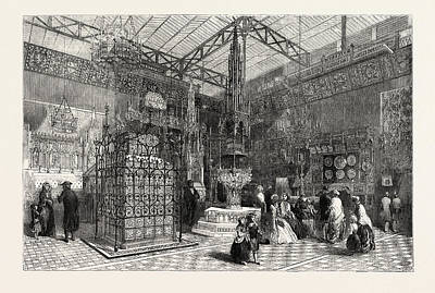 Historic Home Drawing - The Crystal Palace The Mediaeval Court, 1851 by English School