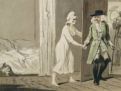 Interior Scene Drawing - The Cuckold Departs For The Hunt by Isaac Cruikshank
