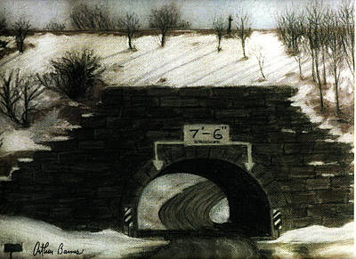 The Culvert Tunnel In Snow Art Print