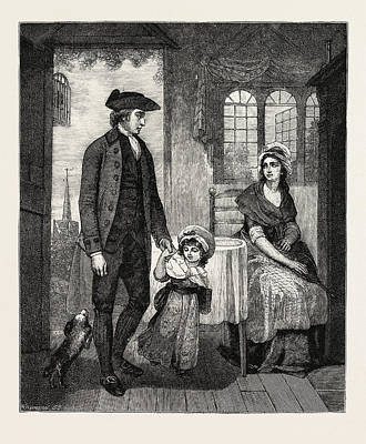 Parish Drawing - The Curate Of The Parish Returned From Duty, Engraving by English School