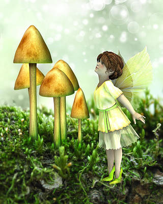 Toadstool Digital Art - The Curious Fairy by Jayne Wilson