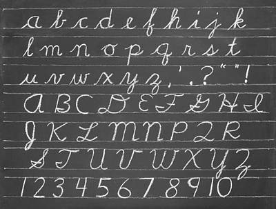 Blackboard Photograph - The Cursive Alphabet by Chevy Fleet