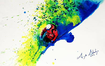 Powder Skiing Painting - The Cutting Edge by Angee Skoubye