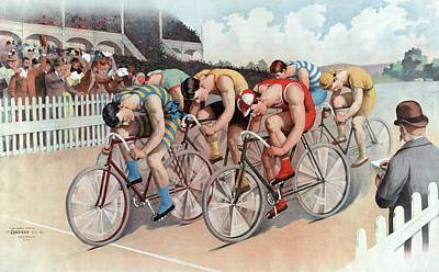 Bike Riding Painting - The Cycle Race by American School
