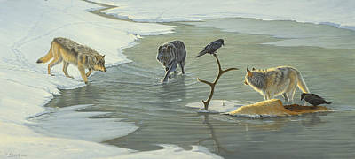 Yellowstone Painting - The Cycle-wolves by Paul Krapf