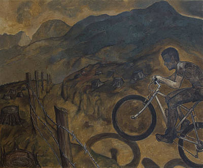 The Cyclist Art Print by Fernando Alvarez