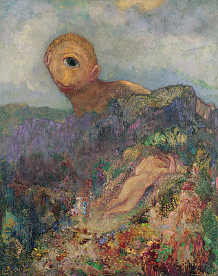 Naiad Photograph - The Cyclops, C.1914 Oil On Canvas by Odilon Redon