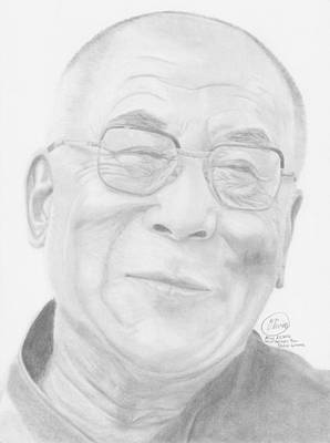 The Dalai Lama Drawing - The Dalai Lama by Olivia Schiermeyer