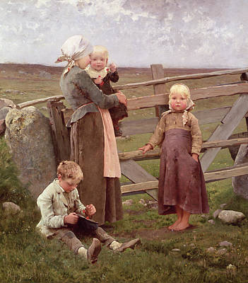 Young Boy Painting - The Dalby Gate by Hugo Salmson
