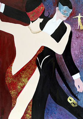 Photograph - The Dance, 2004 Acrylic With Collage On Paper by Susan Adams