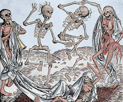 Middle Ages Drawing - The Dance Of Death by Michael Wolgemut