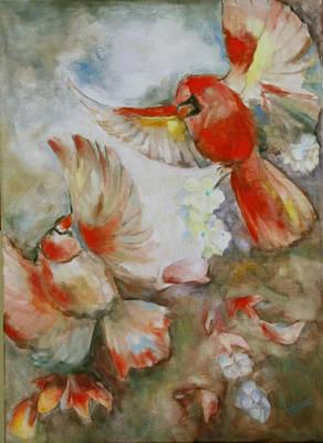 The Dance Of The Cardinals Art Print by Susan Hanlon