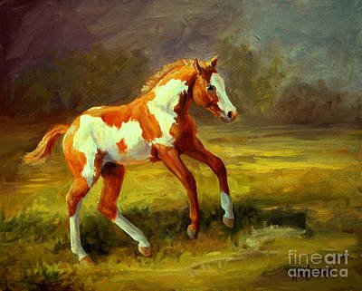 Loping Painting - The Dancer     Paint Horse Filly by Kim Corpany
