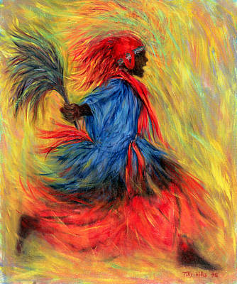 African Traditional Dances Photograph - The Dancer, 1998 Oil On Canvas by Tilly Willis