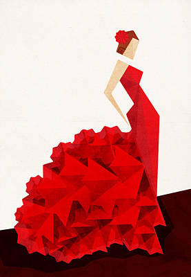 Red Abstract Digital Art - The Dancer Flamenco by VessDSign