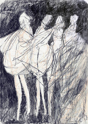 Charcoal Mixed Media - The Dancers by Shayne Cooper