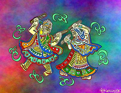 Brilliant Painting - The Dancing Deities by Karunita Kapoor