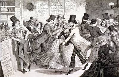 Drunk Drawing - The Dancing Rooms, Plate 3 Of The by George Cruikshank