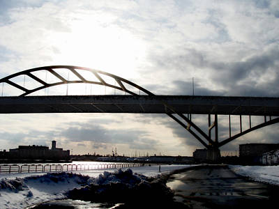Confluence Digital Art - The Daniel Hoan Memorial Bridge by David Blank