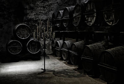 Cellar Photograph - The Dark Atmosphere Of An Old Wine Cellar by Hans-wolfgang Hawerkamp